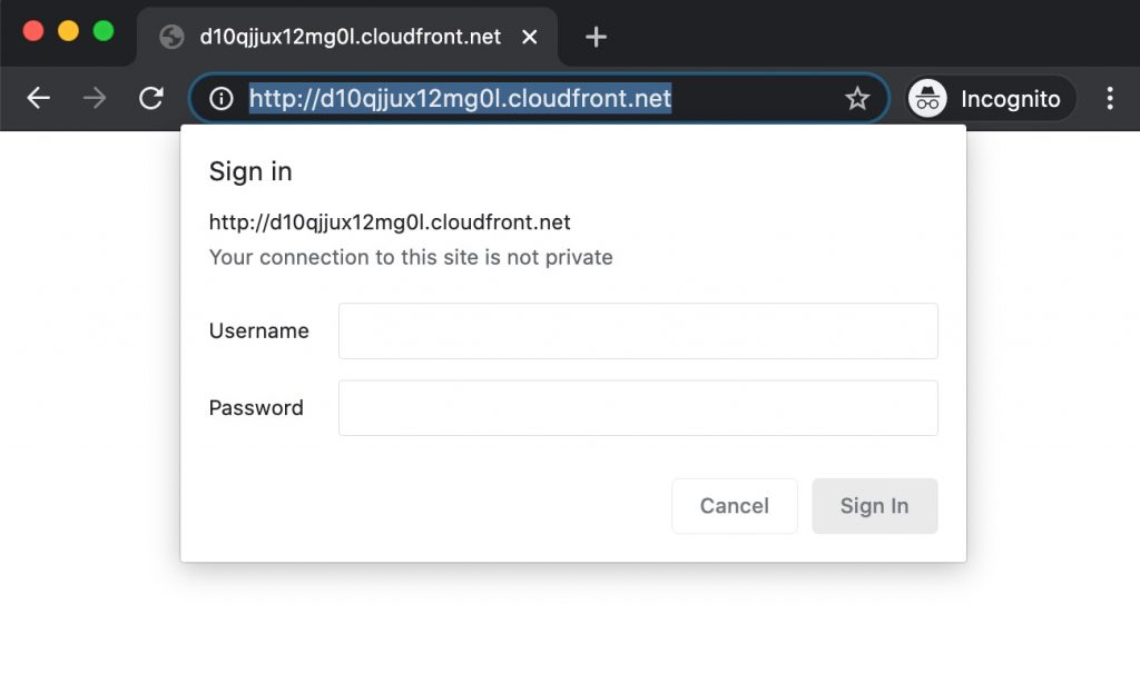 How to enable htpasswd Apache Basic Authentication via AWS cloudfront